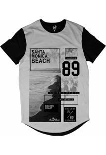 Camiseta Longline Long Beach Litoral Dourado Sublimada Branco