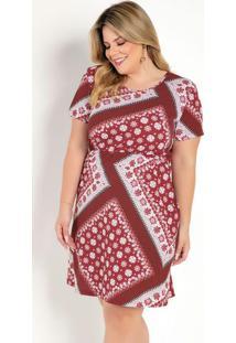 Vestido Curto Arabescos Vermelho Plus Size