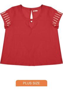 Blusa Plus Size Com Pérolas Vermelho