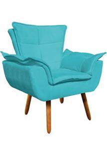 Poltrona Decorativa Sala De Estar Pés Palito Opla Suede Azul Tiffany-