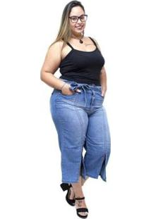 Calça Jeans Plus Size Pantacourt Catheryne Uvx Feminina - Feminino-Azul