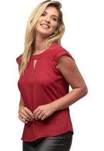 Regata Crepe Mx Fashion Hortência Vermelha