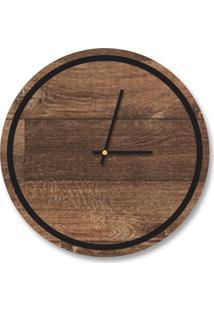 Relógio De Parede Decorativo Premium Minimalista Madeira Ripada Com Borda Preto Ônix Em Relevo Médio