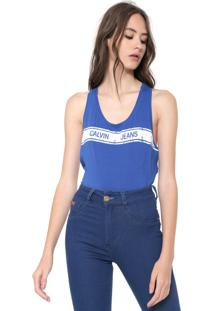 ff09d9e37890db Regata Calvin Klein Jeans Faixa Logo Azul