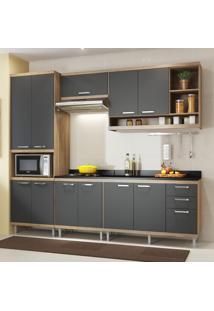 Cozinha Completa 11 Portas 3 Gavetas Sicilia 5809 Argila/Grafite Premium - Multimóveis