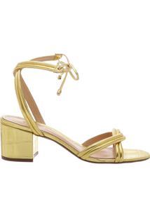 [Pré-Venda] Sandália Block Heel Lace-Up Golden | Schutz