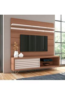 Rack Com Painel Para Tv Até 70 Polegadas Venezza Marrom Nature E Off White 180 Cm