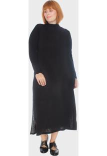 Vestido Reto Com Fendas Plus Size Preto - Preto - Feminino - Dafiti