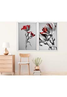 Quadro Love Decor Com Moldura Chanfrada Flores Vermelhas Branco - Grande