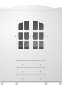 Guarda Roupa Royalli 04 Portas Branco Liso Batteto Loncarcci