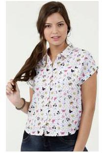Camisa Feminina Estampa Mickey Manga Curta Disney