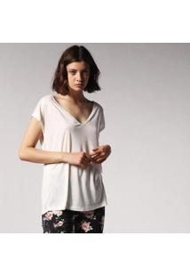 Camiseta Diesel Costas Botão Feminina - Feminino-Branco