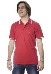 Camiseta Laos Gola Polo Manga Curta Um Com Bolso Vermelha