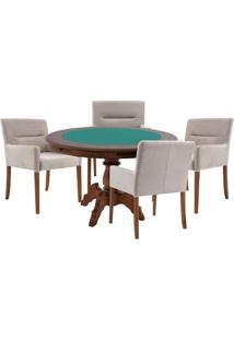 Mesa De Jogos Carteado Redonda Montreal Tampo Reversível Imbuia Com 4 Cadeiras Vicenza Nude - Gran Belo