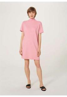Vestido Básico Em Algodão Supima Gola Alta Rosa
