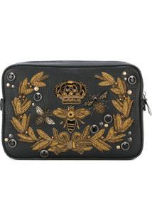 Dolce & Gabbana Clutch Com Aplicação De Couro - Preto