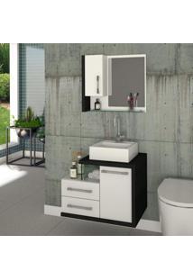 Gabinete Para Banheiro 1 Porta 2 Gavetas Com Cuba E Espelheira Legno 650W Siena Móveis Branco C/Preto Onix