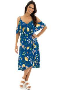 ... Vestido La Mandinne Midi Alcinha Estampado Limões Azul e8687244a4709
