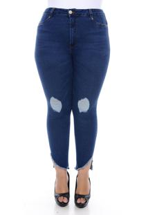 Calça Cambos Jeans Plus Size Super Skinny Cropped Deep Blue Azul