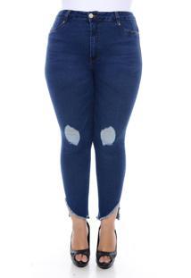 Calça Cambos Jeans Plus Size Super Skinny Cropped Deep Blue Azul