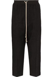 Rick Owens Drawstring Drop-Crotch Trousers - Preto