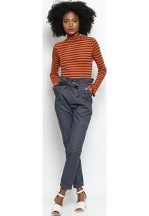 Blusa Listrada Canelada- Laranja & Bordã´Hering