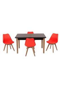 Conjunto Mesa De Jantar Luiza 135Cm Preta Com 4 Cadeiras Leda - Vermelho