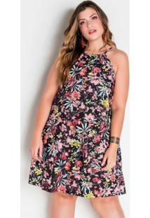 Vestido Trapézio Plus Size Floral