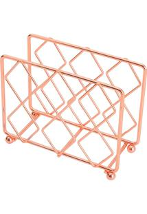 Porta Guardanapos Ferro Cromado Rosé 13,5X5X11Cm Lyor