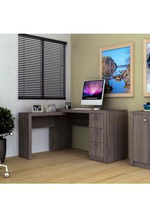 Mesa Para Computador Com 3 Gavetas Me4101 - Tecno Mobili - Carvalho