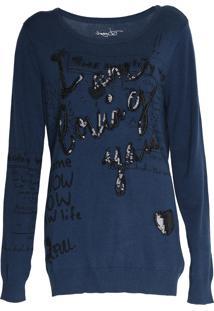 Suéter Desigual Tricot Lettering Azul