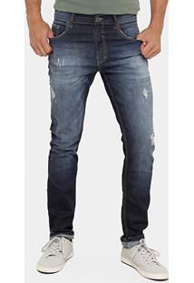 Calça Jeans Slim Fit Ellus Rasgos Stone Masculina - Masculino