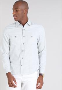 Camisa Masculina Comfort Com Bolsos Cinza Mescla Claro