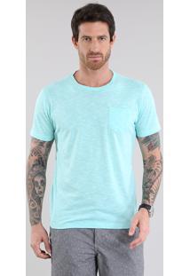Camiseta Com Bolso Verde Água