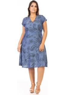 Vestido Midi Evasê Com Estampa Plus Size Confidencial Extra Feminino - Feminino-Azul
