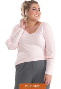 Blusa Plus Size Canelada Com Botões Rosa Claro