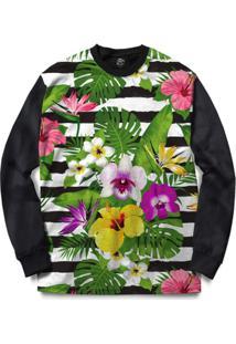 Blusa Bsc Stripe Flowered Full Print - Masculino-Preto