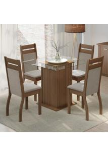 Conjunto Sala De Jantar Madesa Nice Mesa Tampo De Vidro Com 4 Cadeiras Marrom - Tricae