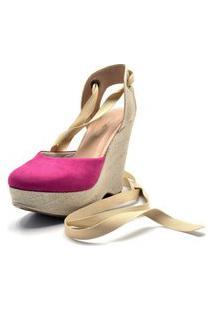 Sandália Anabela Salto Alto Em Camurça Pink Com Salto Em Juta