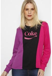 """Blusã£O """"Cokeâ®"""" Com Recortes - Preto & Pink - Coca-Cococa-Cola"""