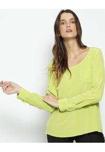 Blusa Em Seda Com Bolso- Verdebobstore