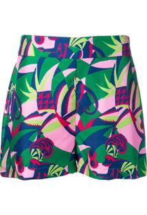 La Doublej Colour-Block Fitted Shorts - Verde