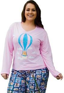 Pijama Plus Size Victory Inverno Frio Malha Fria Feminino - Feminino-Rosa