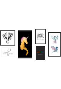 Conjunto Com 6 Quadros Decorativos Animal Love Colorido