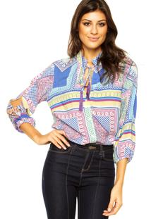 Camisa Letage Floral Rosa/Azul