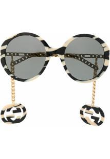 Gucci Eyewear Óculos De Sol Redondo Interlocking G - Neutro