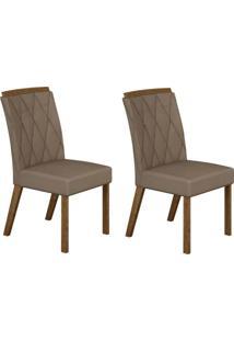 Conjunto Com 2 Cadeiras Esmeralda Ipê E Veludo Camurça