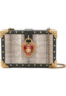 Dolce & Gabbana Bolsa 'Heart Box' De Couro E Pele De Cobra - Preto