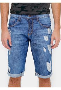 Bermuda Jeans Biotipo Stone Rasgos Barra Virada Reta Masculina - Masculino