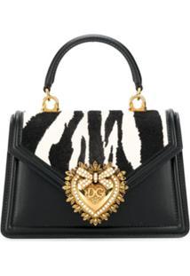 Dolce & Gabbana Bolsa Tote Devotion Com Estampa De Zebra - Preto